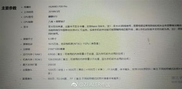 Huawei P20 Pro Specifications Leaked