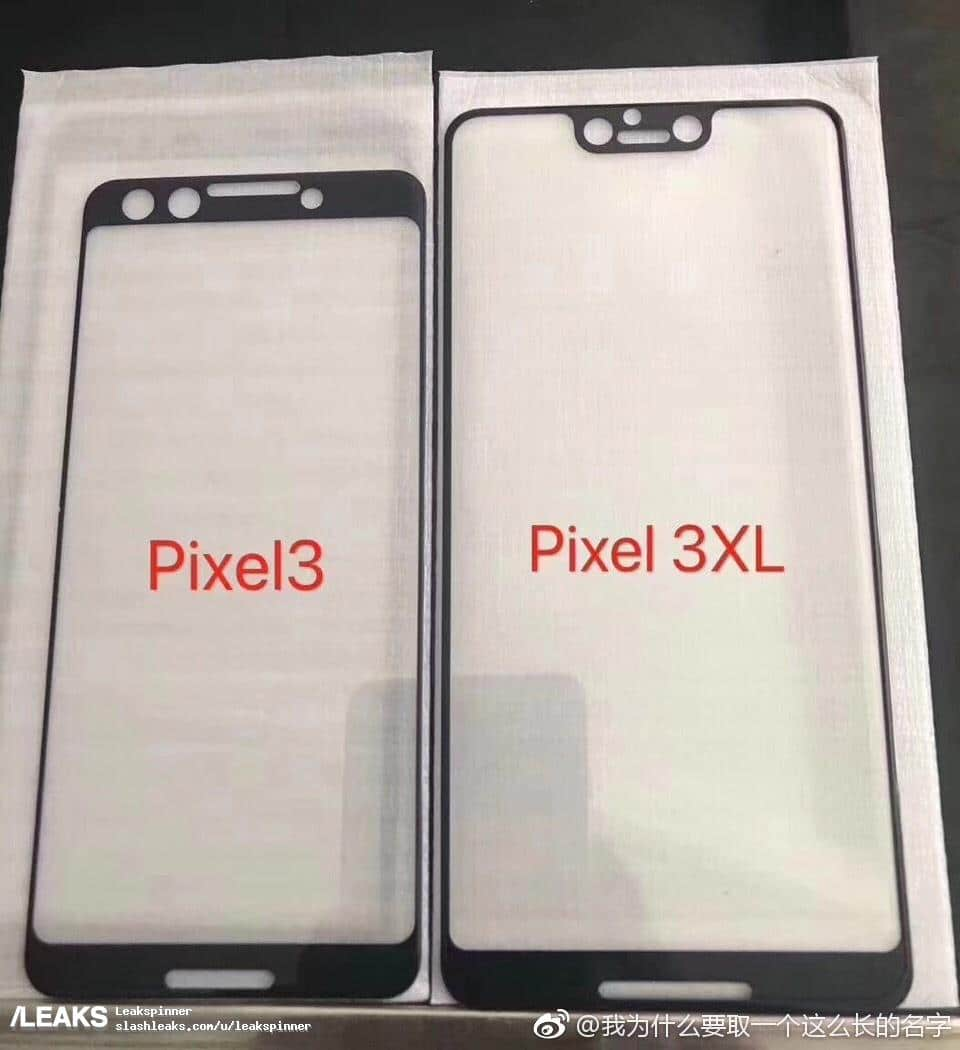 Google Pixel 3 & Pixel 3 XL Tempered Glass Leaks – Shows Notch in Pixel 3 XL
