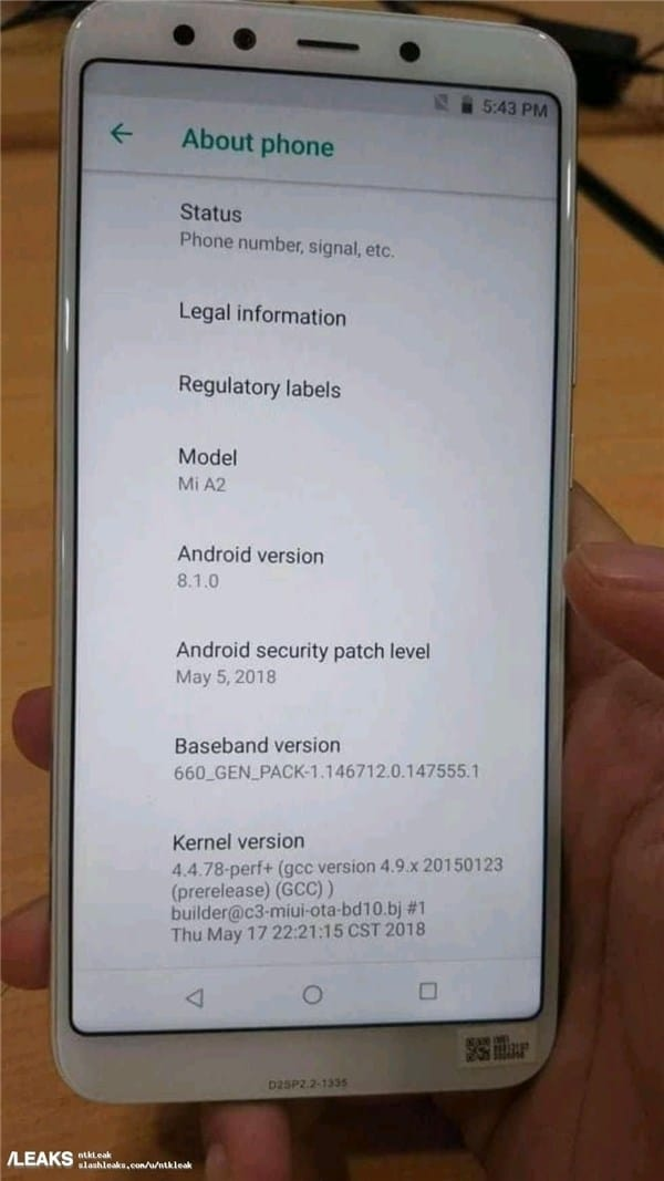 Xiaomi Mi A2 Smartphone Hands-On Image Leak With Snapdragon 660